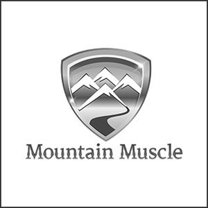 Grayscale Logo Mountain Muscle